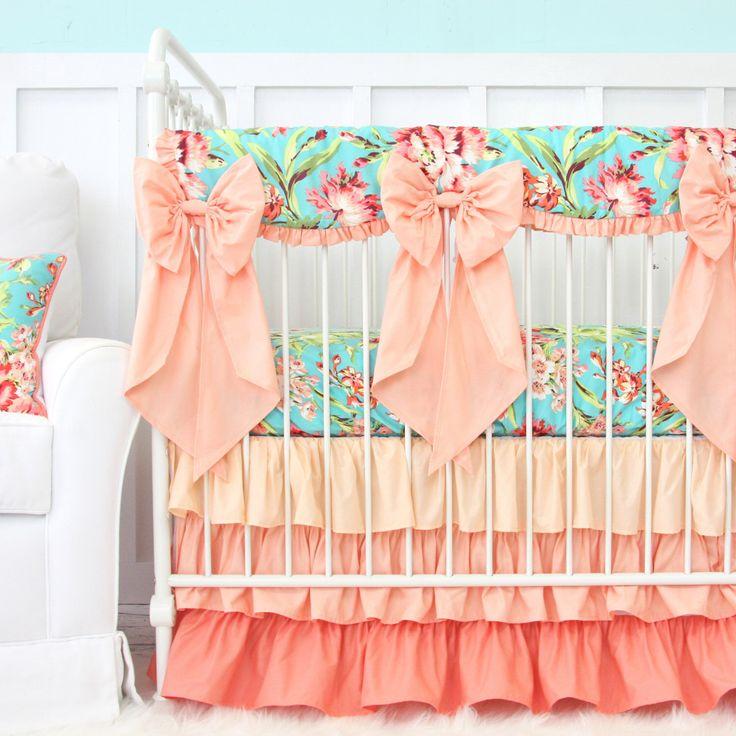 Coral Camila Ruffle Bumperless Crib Bedding Set | Bright Floral Girl Crib Set | Aqua, Coral, Floral, and Scalloped Teething Guard | Crib Bow by CadenLaneBabyBedding on Etsy https://www.etsy.com/listing/214949481/coral-camila-ruffle-bumperless-crib