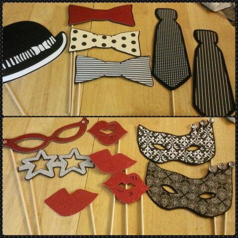 Black and white party.  Photobooth props using cricut photo booth props cartridge.