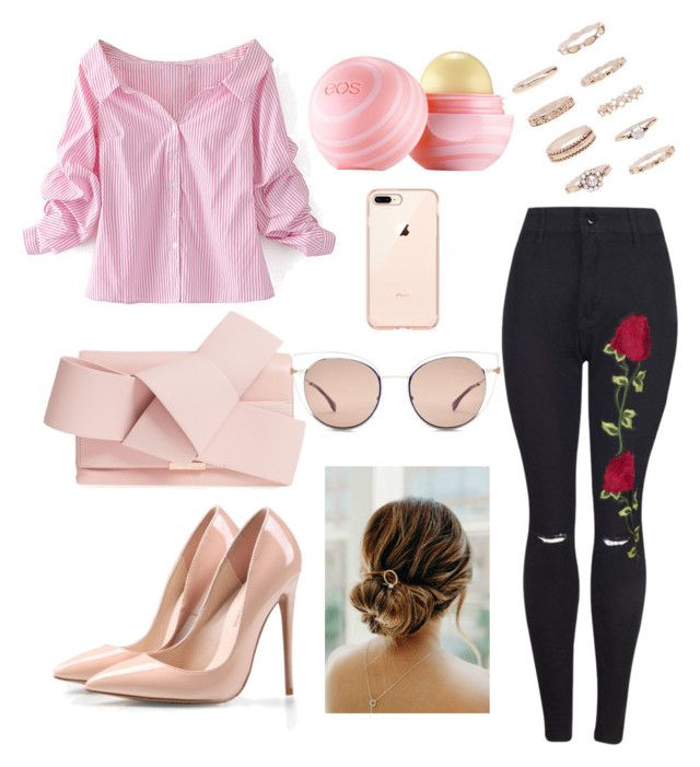 """Pink off the shoulder outfit"" by drumeaclementina on Polyvore featuring WithChic, Ted Baker, Fendi, Eos, Forever 21, Pink and offtheshoulder"