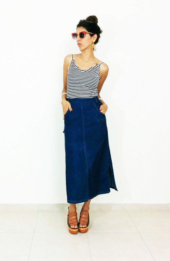 70s DENIM SKIRT boho high waisted jeans skirt A by SubCollection