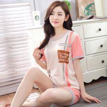 Novo Manga Curta Kawaii Pijama Mulher Terno Pijamas Mujer Tripe Verão Pano Casa Tempo de Lazer Lovelys M-2XL Vestido de Noite Das Mulheres(China (Mainland))
