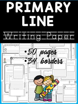Primary Line Writing Paper - With Drawing Frames This resource contains 50 primary lined writing pages with 34 different borders, including different frames for drawing: * space at the top of the page for drawing a picture * space at the bottom of the page for