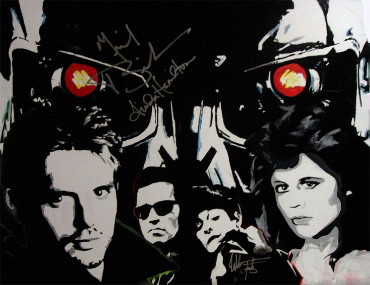 Acrylic painting I did for a Terminator Cast Reunion. Autographed by Michael Biehn, Linda Hamilton, and Edward Furlong.