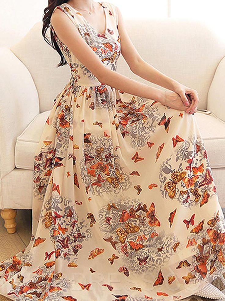 Ericdress Refreshing Printed Maxi Dress Maximum Style