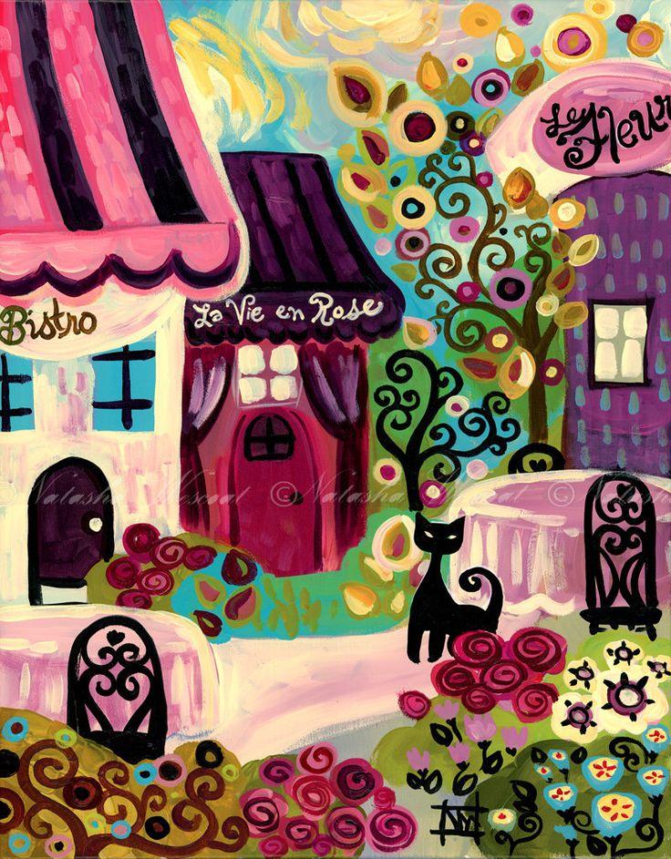 Paris France Folk Art Print La Vie en Rose Bistro cat 13x19 by Natasha Wescoat. $36.00, via Etsy.