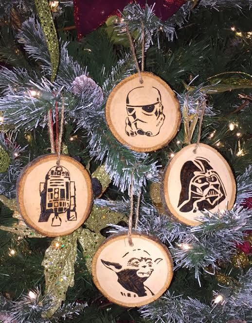 Wood burned Star Wars Christmas Ornaments by CirclePTradingCo on Etsy https://www.etsy.com/listing/258871298/wood-burned-star-wars-christmas