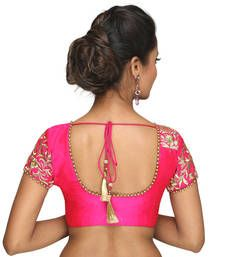 Buy Pink bengal silk embroidery  non padded readymade blouse readymade-blouse online