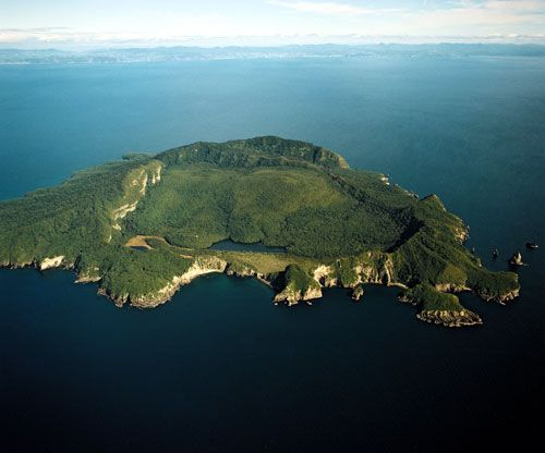 Tuhua - a dormant shield volcano located off the Bay of Plenty coast of New Zealand's North Island. The area around the island is renowned for game fishing