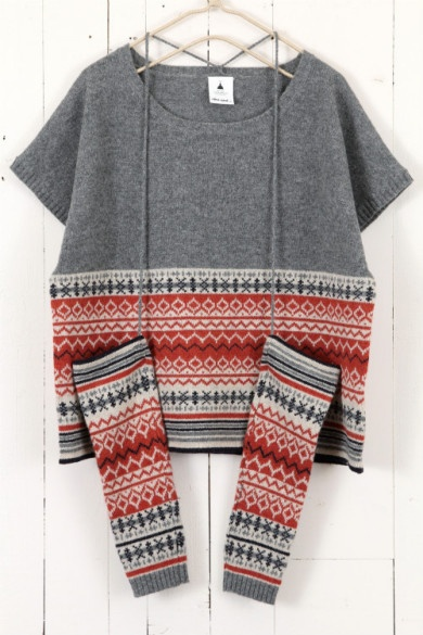 グレー Interesting...I have an old (too small) fair isle sweater that I've been thinking of taking apart...