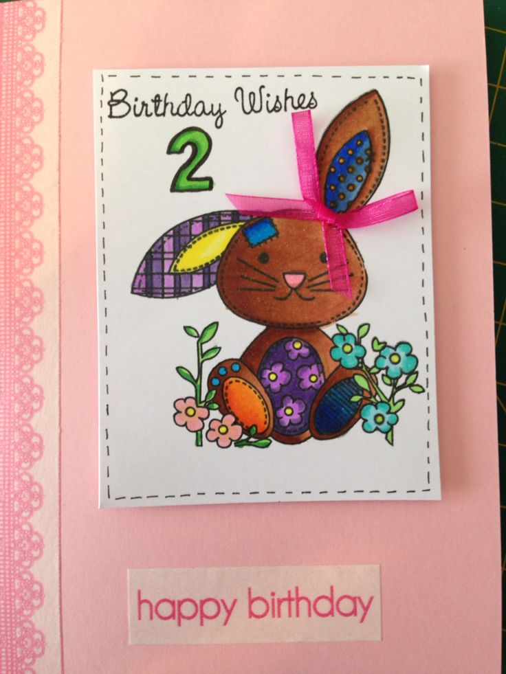 Birthday Card for a 2 yr old girl. Coloured using Copic Markers.