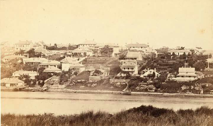 Panoramic view of Simmons Point,Balmain East from Goat Island in Sydney in 1865.Photo by John Degotardi.A♥W