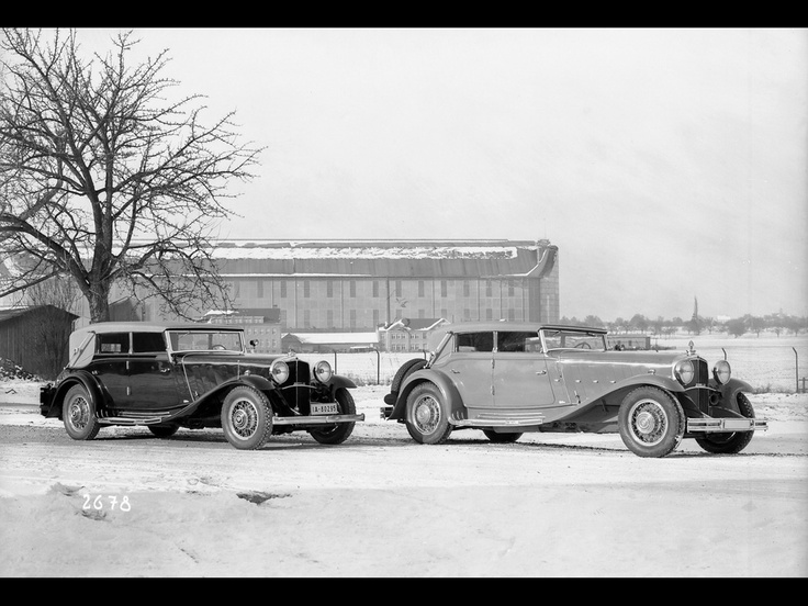 1930 Maybach DS7 Zeppelin Front of Zeppelin Factory in Friedrichshafen