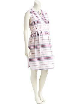 Maternity Striped Sleeveless Dresses