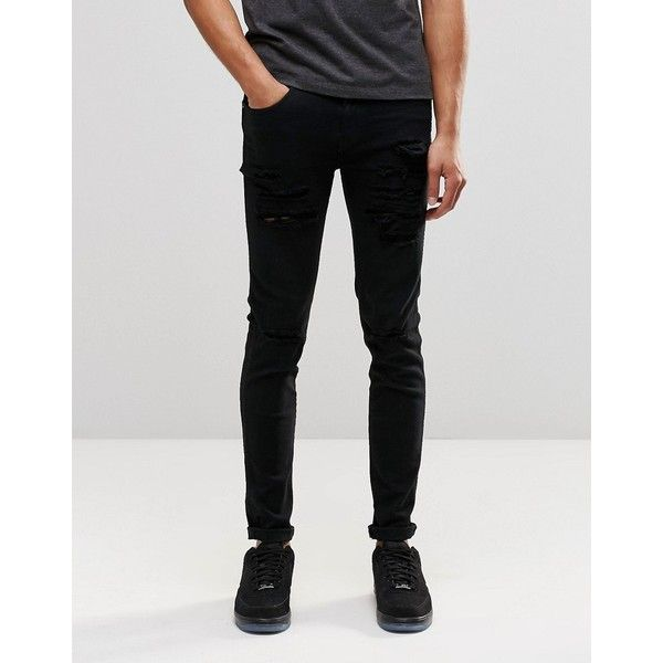 Dr Denim Snap Skinny Jeans Black Ripped Knee and Thigh ($81) ❤ liked on Polyvore featuring men's fashion, men's clothing, men's jeans, black ripped, mens distressed skinny jeans, mens super skinny jeans, mens skinny jeans, tall mens jeans and mens ripped jeans