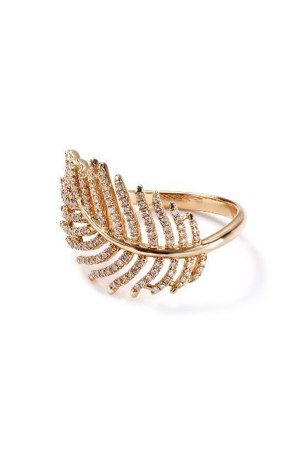 Diamond Feather Ring in 14k Rose Gold