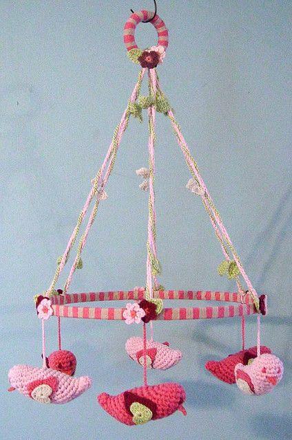 crochet bird mobile