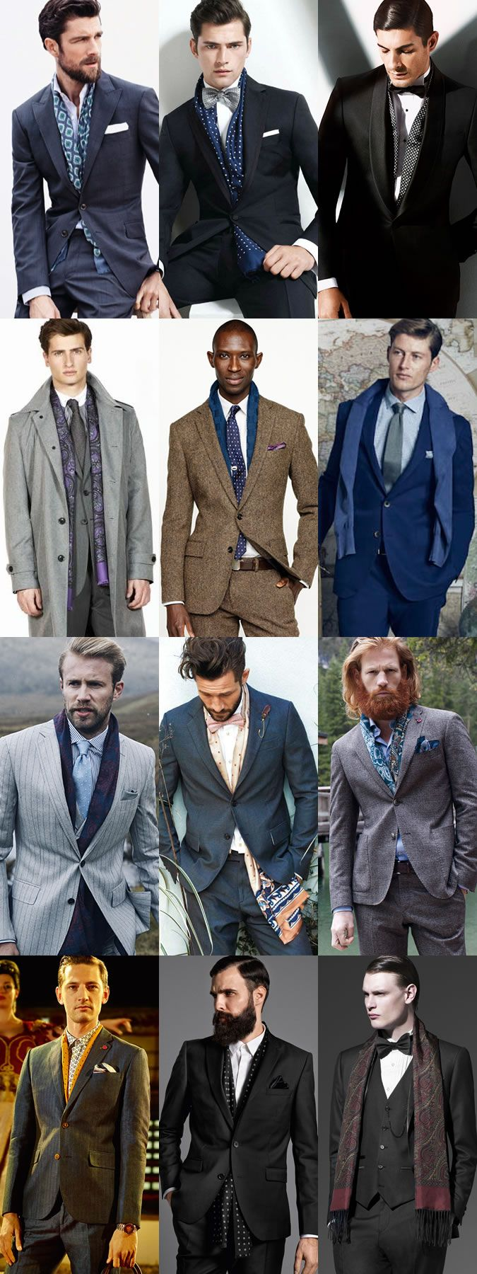 Men's Silk Scarves Formal Outfit Inspiration Lookbook