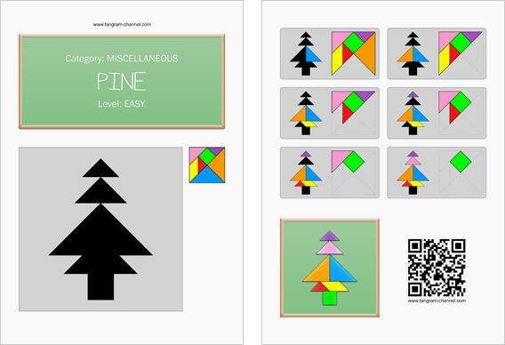 Tangram worksheet 261 : Pine - This worksheet is available for free download at http://www.tangram-channel.com