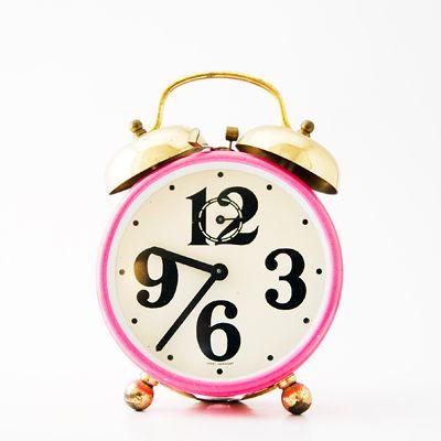 Image of Print, Pink clockPink Alarm, Vintage Clocks, Alarm Clocks, Vintage Wardrobe, Pink Clocks, Living Simply, Buffer Zone, Time Management Tips, Tick Tock