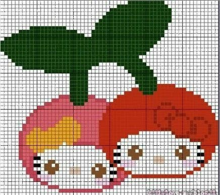 Hello Kitty fruits perler bead pattern... Could be used for Rainbow Loom
