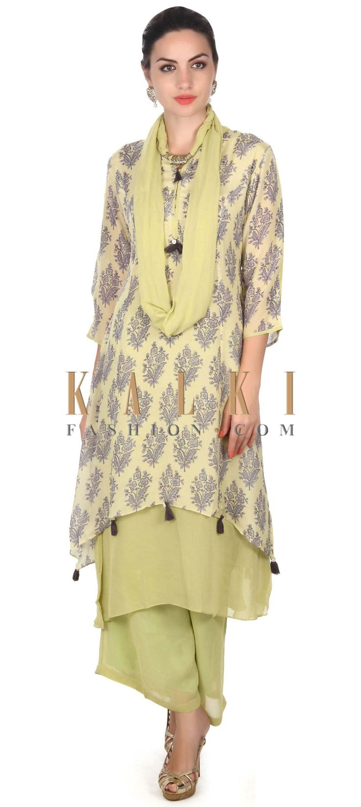 Buy this Green straight suit in floral butti with palazzo pant only on Kalki