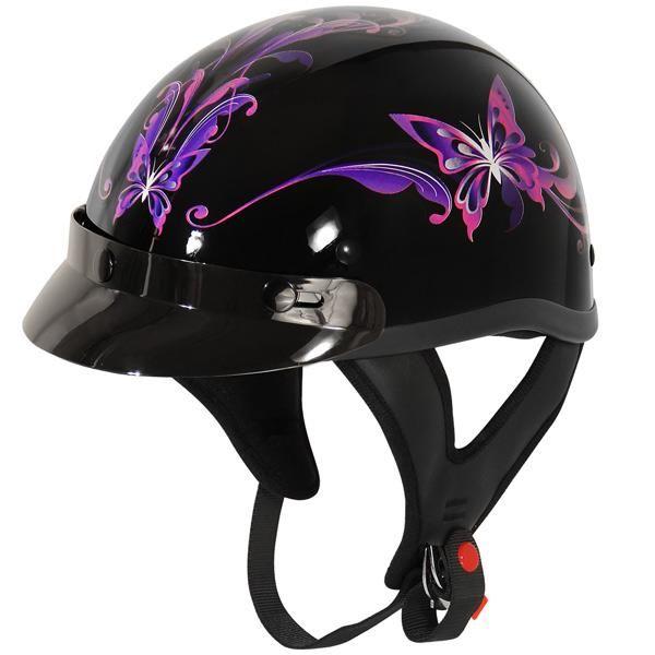 Purple Butterfly Glossy Motorcycle Half Helmet – Stofma Hub