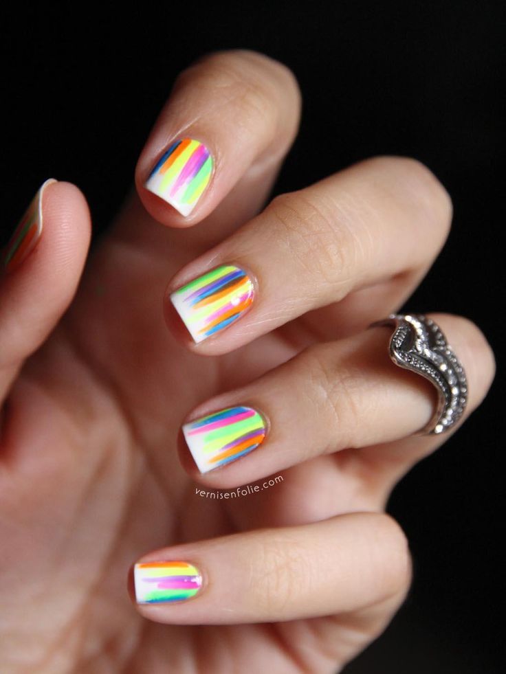 White Neon Pink Green Purple Blue Yellow Orange Bright Colors Polish Cute  Easy Nails Designs Fun Summer Streaks Stripes Thin Brush Strokes Manicure  Ideas Do ...