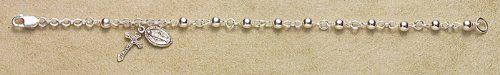 """Sterling Silver Rosary Bracelet Bracelets Catholic 4mm Bead 6.5"""" Standard Length HMHRegina http://www.amazon.com/dp/B0039UI39I/ref=cm_sw_r_pi_dp_q.Hswb1EEH5D7"""