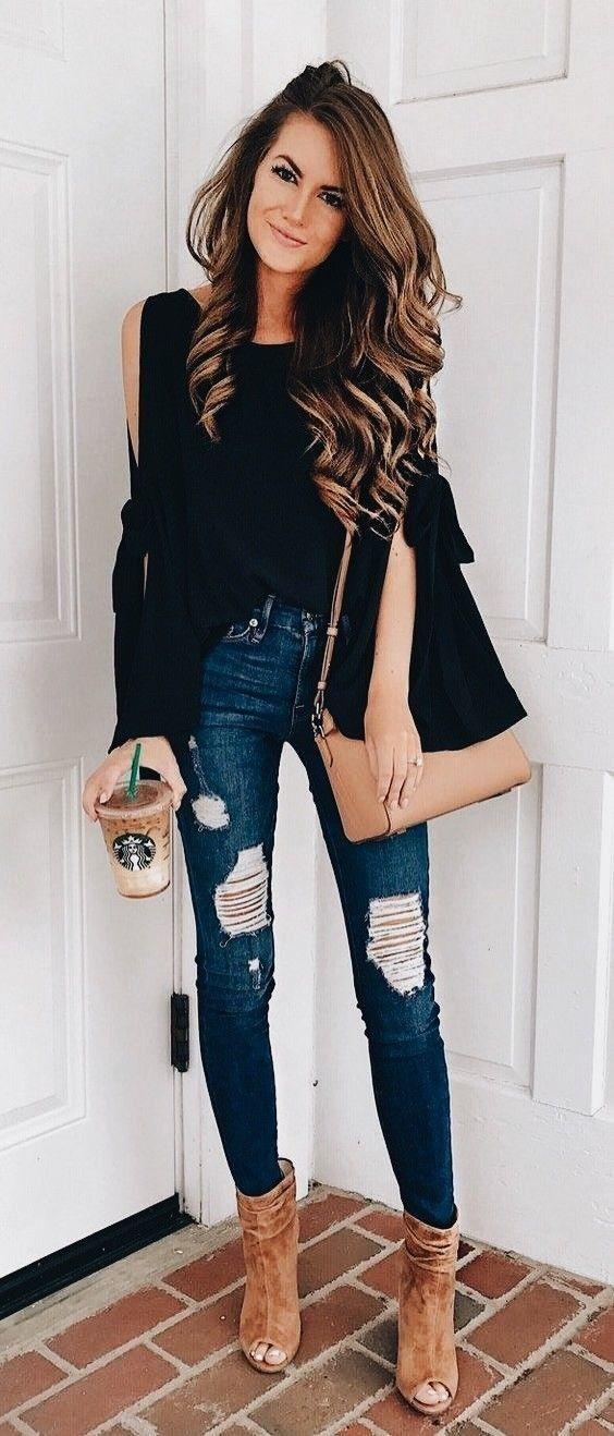 Winter Outfits Womens Black Long Sleeve Dress Shirt Style Fall