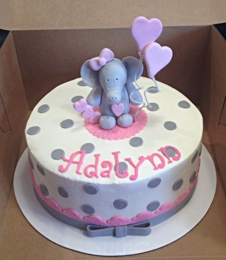 Baby Shower Cakes Disgusting ~ Baby elephant pink and gray shower cake