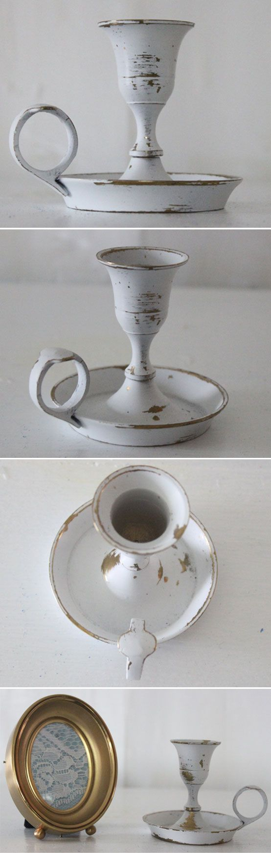 METAL   DISTRESSED BRASS :: White painted & distressed brass finger candle holder (ClearwaterTrading on Etsy) :: For reference...