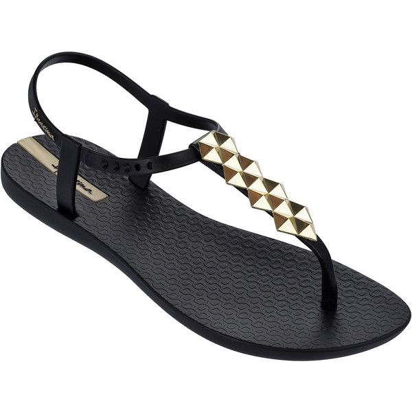 Ipanema Sandals Black Flip Flops - Ipanema Charm Ii Sandal... ($32) ❤ liked on Polyvore featuring shoes, sandals, flip flops, flats, black, gold shoes, gold sandals, black shoes, gold flats sandals and kohl shoes