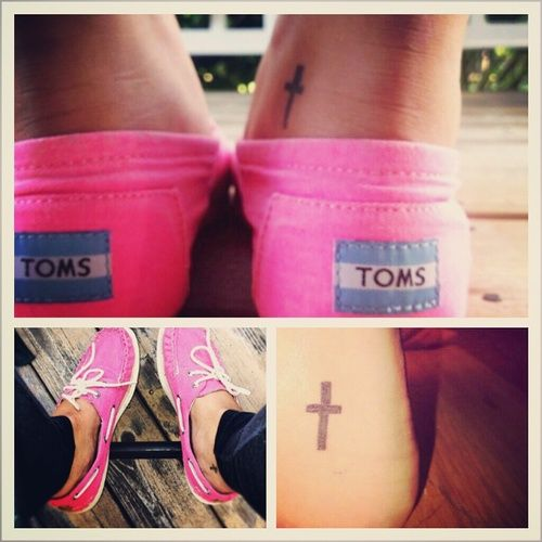 Cute, small cross tattoo