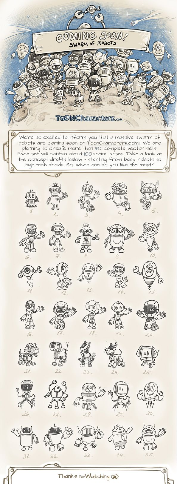 Swarm of Robot Toon Characters is Coming Soon!