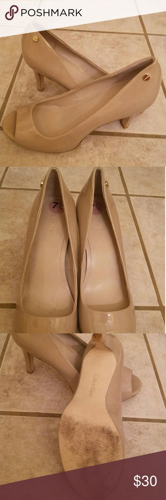 Nude Calvin Klein peep toe pumps Nude Calvin Klein peep toe pumps, only worn once, 3 in heel Calvin Klein Shoes Heels
