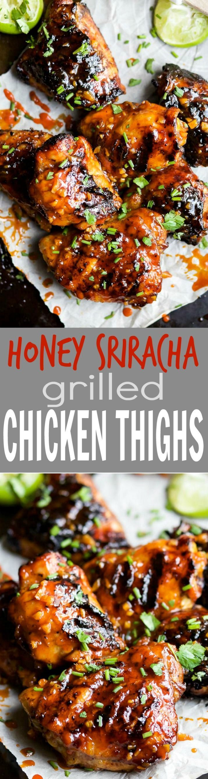 Sweet & Spicy HONEY SRIRACHA GRILLED CHICKEN THIGHS - juicy smoky Chicken Thighs slathered in an easy Honey Sriracha glaze that will make you swoon! I guarantee these will be a hit!   joyfulhealthyeats...   #ad   gluten free recipes