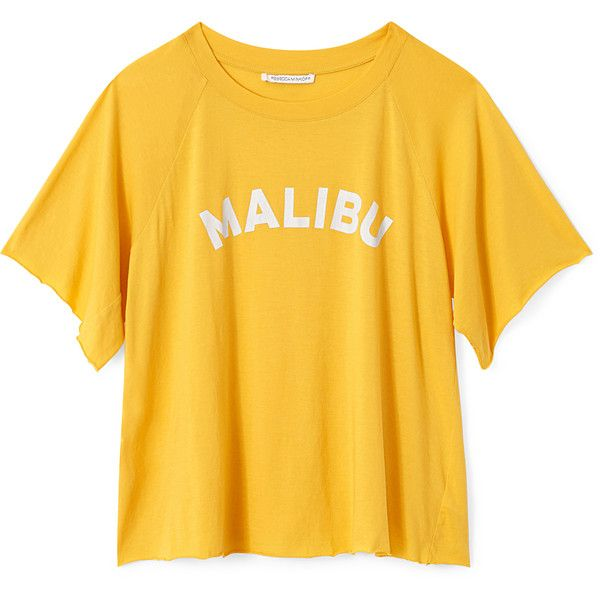 Malibu Lombardo Tee ❤ liked on Polyvore featuring tops, t-shirts, yellow t shirt, yellow tee and yellow top