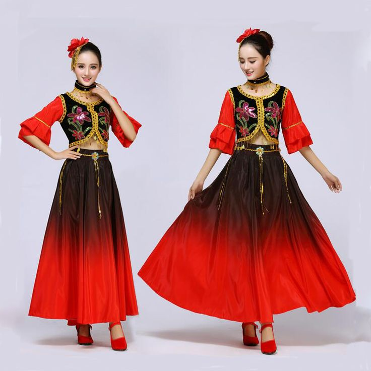 Chinese folk dance costumes minority Xingjiang clothes national dance performance wear women's dress Chinese dance costumes #Affiliate