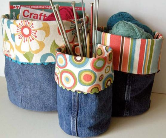 Recycle denim and make charming basket bins--Tutorial.  AND 45 BEST Weekend Lifestyle DIY Tutorials EVER. GIFT DECOR, FURNITURE, JEWELRY, FOOD, WHIMSEY, PARTY from MrsPollyRogers.com