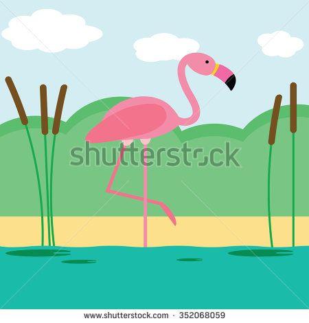 Vector illustration of flamingo - stock vector