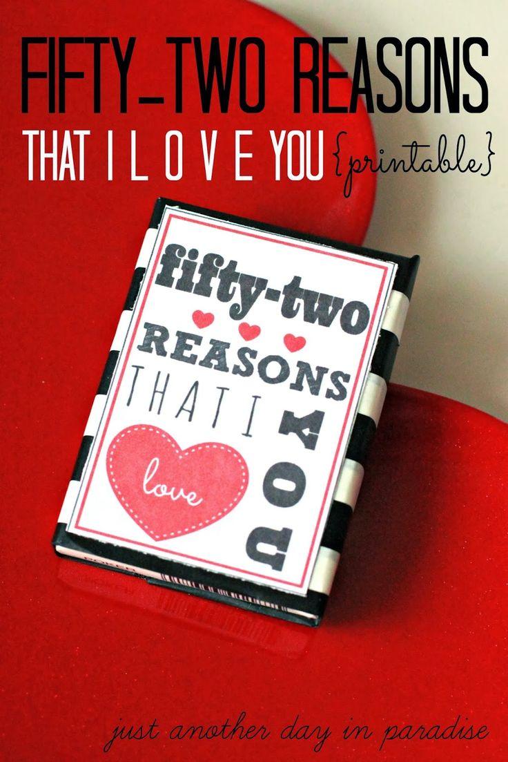 52 Reasons I Love You Printable (A Pinteresting Wednesday)