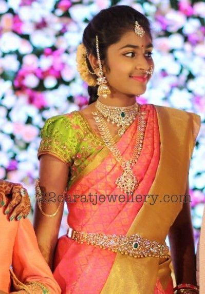 Challa Sireesha daughter Sridha Reddy half saree function, The girl looked elegant in traditional saree with heavy diamond emerald ...