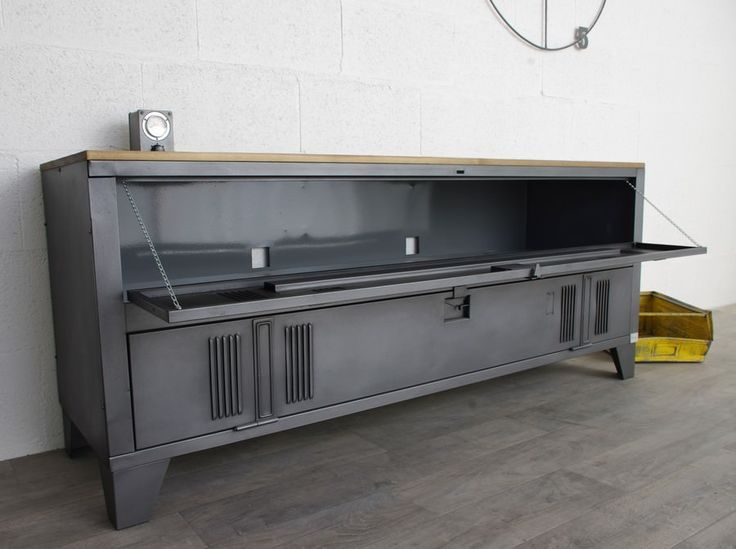 An Industrial Buffet With A 2 Door Cloakroom And Wooden Tray
