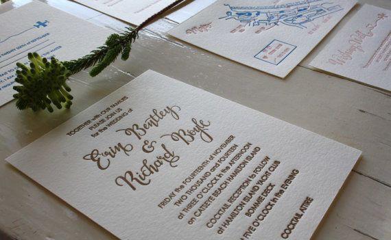 Letterpress Wedding Invitation Calligraphy by CocoPress on Etsy