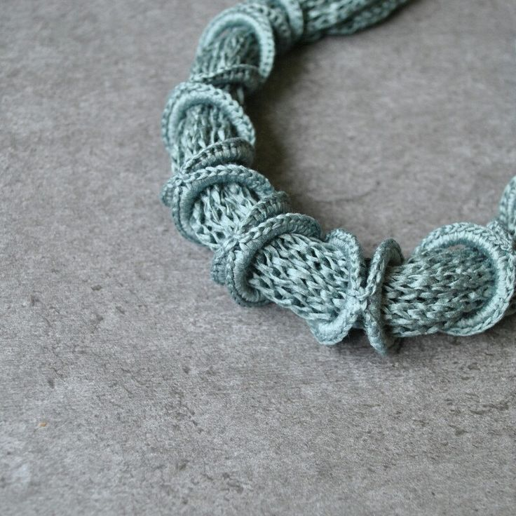 Details. Green - blue Aliquid Cotton Necklace. Textile Jewelry