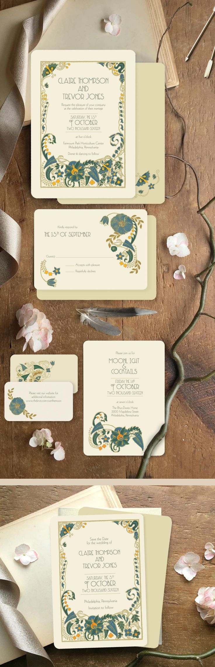 Announce your day with drama and color with this art deco floral design! These Art Deco wedding invitations are printed on the front and back and can accommodate your custom wording and wedding colors. From GoGoSnap Wedding Invitations.  https://www.etsy.com/listing/224707098/art-deco-wedding-invitation-wedding?ref=shop_home_feat_1