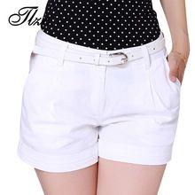 Corea Del Verano de la Mujer Pantalones Cortos de Algodón del Tamaño S-3XL de TLZC Nuevo Diseño de Moda de Señora Casual Pantalones Cortos de Color Sólido de Color Caqui/Blanco(China (Mainland))