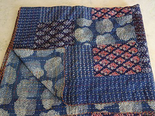 Tribal Asian Textiles Multi Couleur Imprime Taille Queen Kantha