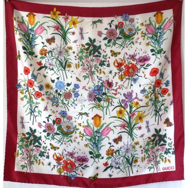 qualité authentique nouvelle version choisissez le dégagement gucci, flora, foulard, carré, soie, scarf, sciarpa, gucci ...