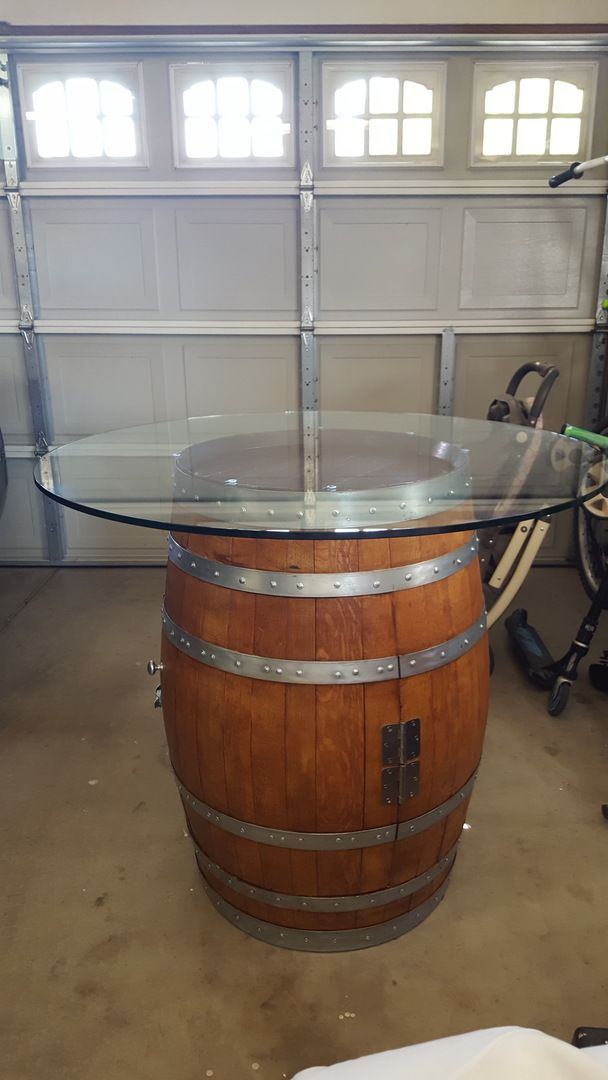 42 Round Glass Table Top Wine Barrel, 42 In Round Glass Table Top